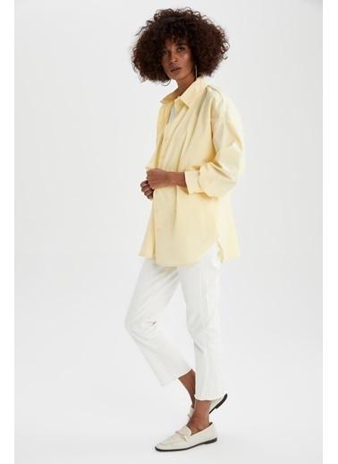 DeFacto Basic Oversize Fit Pamuklu Poplin Gömlek Tunik Sarı
